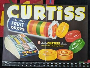 Curtiss Assorted Fruit Drops vtg large double page magazine ad Lifesavers candy
