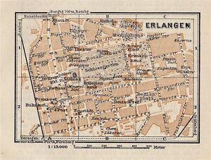Map Of Germany Erlangen.1910 Antique City Map Of Erlangen Bavaria Bayern Germany Ebay