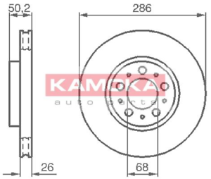 Vorderachse Kamoka 1032326 2 Stück Bremsscheibe