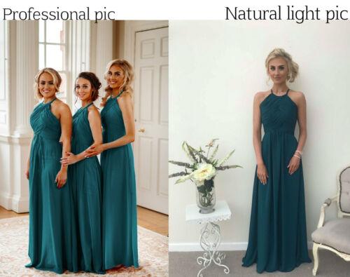 Chiffon Bridesmaid Dress A-line Maxi Prom Ballgown Halterneck Long Plus Size