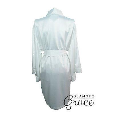 WHITE Children's kids flower girl satin dressing gown robe bride bridesmaid