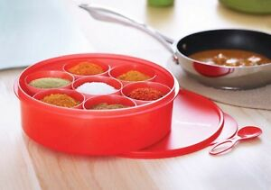 Tupperware-Spice-it-Multi-Masala-container-storage-box-RED-color-with-spoon