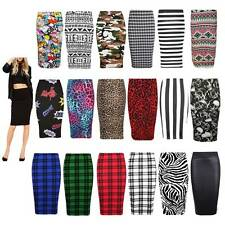 LADIES WOMEN MIDI BODYCON PENCIL OFFICE PLAIN PRINTED HIGH WAIST TUBE SKIRT 8-26