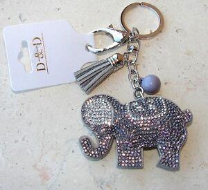 Dettagli su Elefante Portachiavi Portafortuna,ciondolo Borsa,strass da donna argento