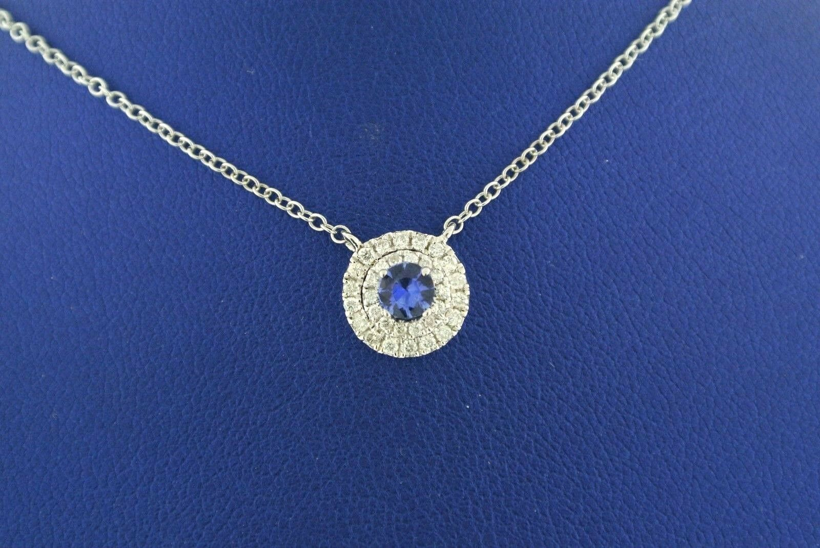 14K White gold 0.50 CT Diamond & 0.25 CT Sapphire Pendant,S101603