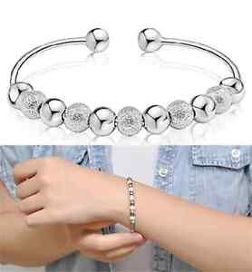 Lady-Men-Gift-Elegant-Wholesale-Jewelry-Silver-Plated-Bead-Bracelet-Bangle