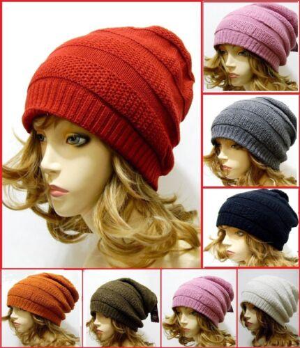 Striped Warm Winter Fashion Hat Unisex Women Men Baggy Beanie Red Green Gray