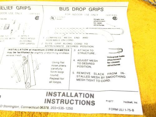 "HUBBELL 073-04-1280 .73/"" to .85/"" DIAMETER BUS DROP KELLEMS GRIP STRAIN RELIEF"