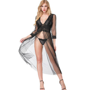 87aff6f9d46 Womens Sexy Lace Mesh See-Through Ladies Gown Long Robe Lingerie ...