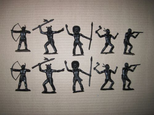Modern Recast Indians Cofalu and  Marx Russian made toy soldiers 60 mm