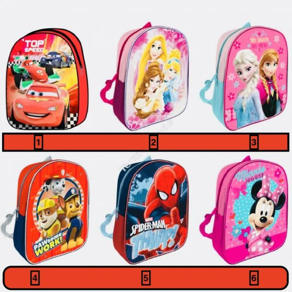 2019 Nuovo Stile Zainetto Asilo Scuola Cars Disney Princess Frozen Spider Man Paw Patrol Minnie