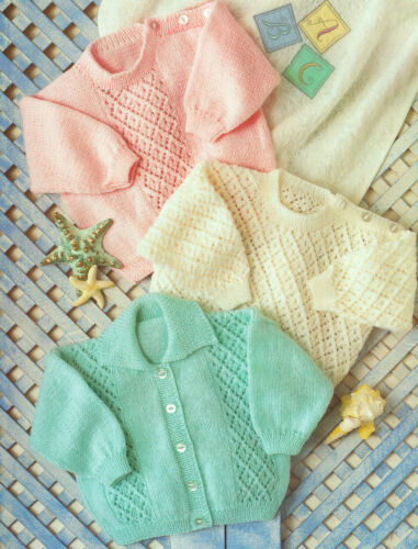 """Prematuro Diamante Baby Cardigan /& Sweaters 4 capas de 12 /"""" 24/"""" Tejer patrón"""