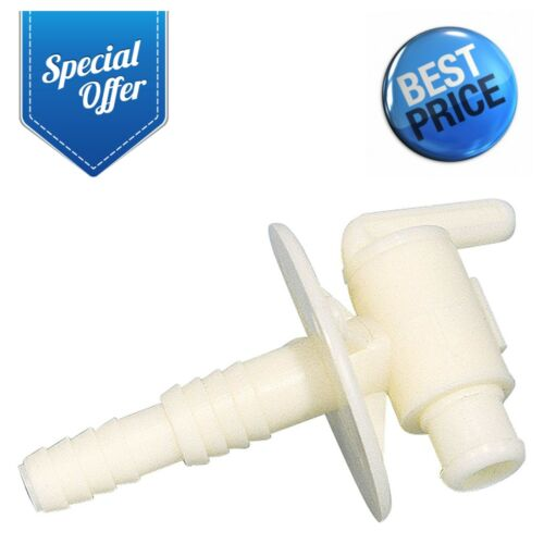 """Camco 3//8/"""" or 1//2/"""" Dual Barb with Flange Drain Valve RV Camper Fresh Water Tank"""
