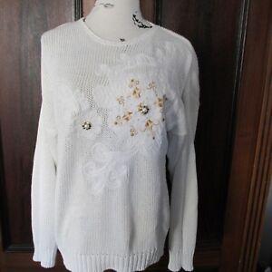 Details zu Damen Baumwoll Pullover weiß mit Perlen und Stickerrei Gr 42