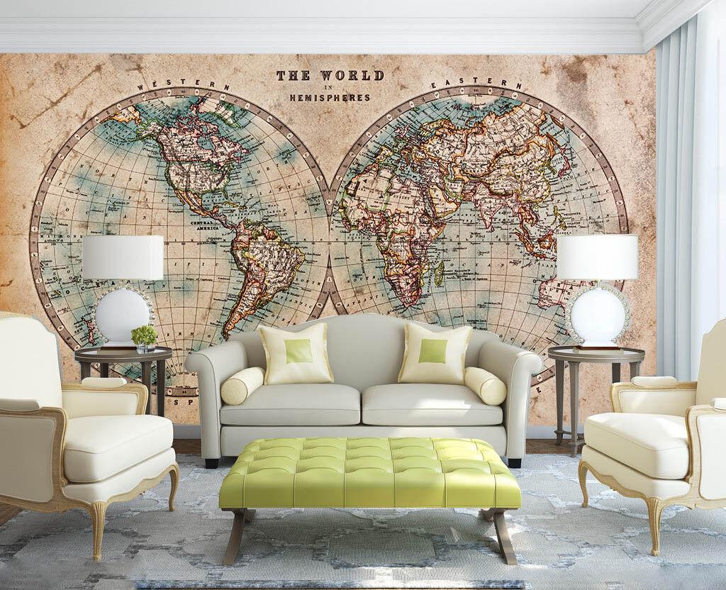 3D Retro World Map 75 Wall Paper Murals Wall Print Wall Wallpaper Mural AU Lemon