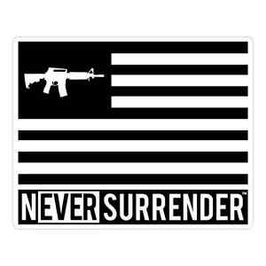 Never-Surrender-Logo-AR15-FLAG-STICKER-100-Made-in-USA