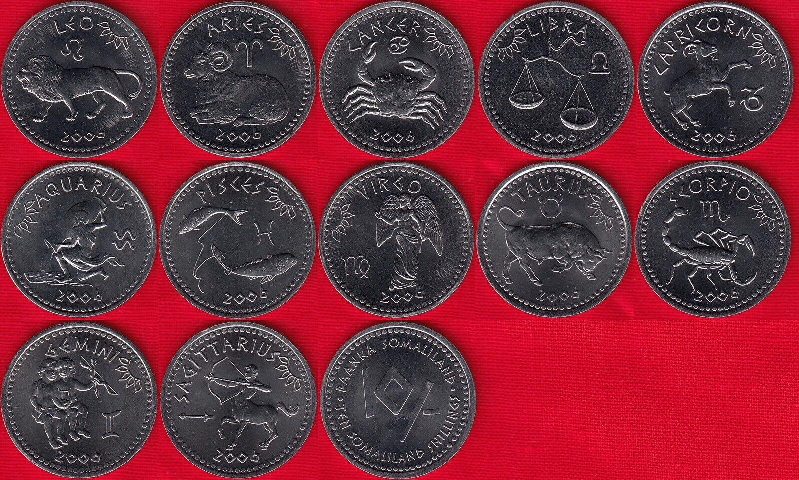 2006 Zodiac serial,real S-3 10 shillings UNC Somaliland Set 12 Coins