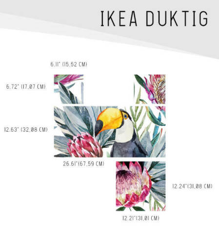 IKEA DUKTIG removable Decal adhesive sticker furniture toucan parrot and flowers