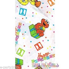 SESAME STREET 1st BIRTHDAY PLASTIC TABLE COVER ~ First Party Supplies Decoration