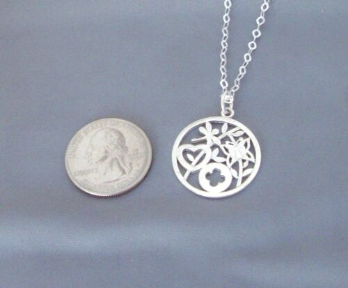 Dragonfly Butterfly Heart Flowers Circle Sterling Silver Mother Nature Necklace