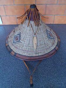 Magnifique Ancien Chapeau De L'ethnie Peuls Tressé - Lanière En Cuir - 4 Photos Yyt9xtre-07214525-487414716