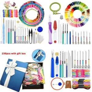 Magic DIY Embroidery Pen Punch Needle Knitting Sewing Cross Stitch Threads Set