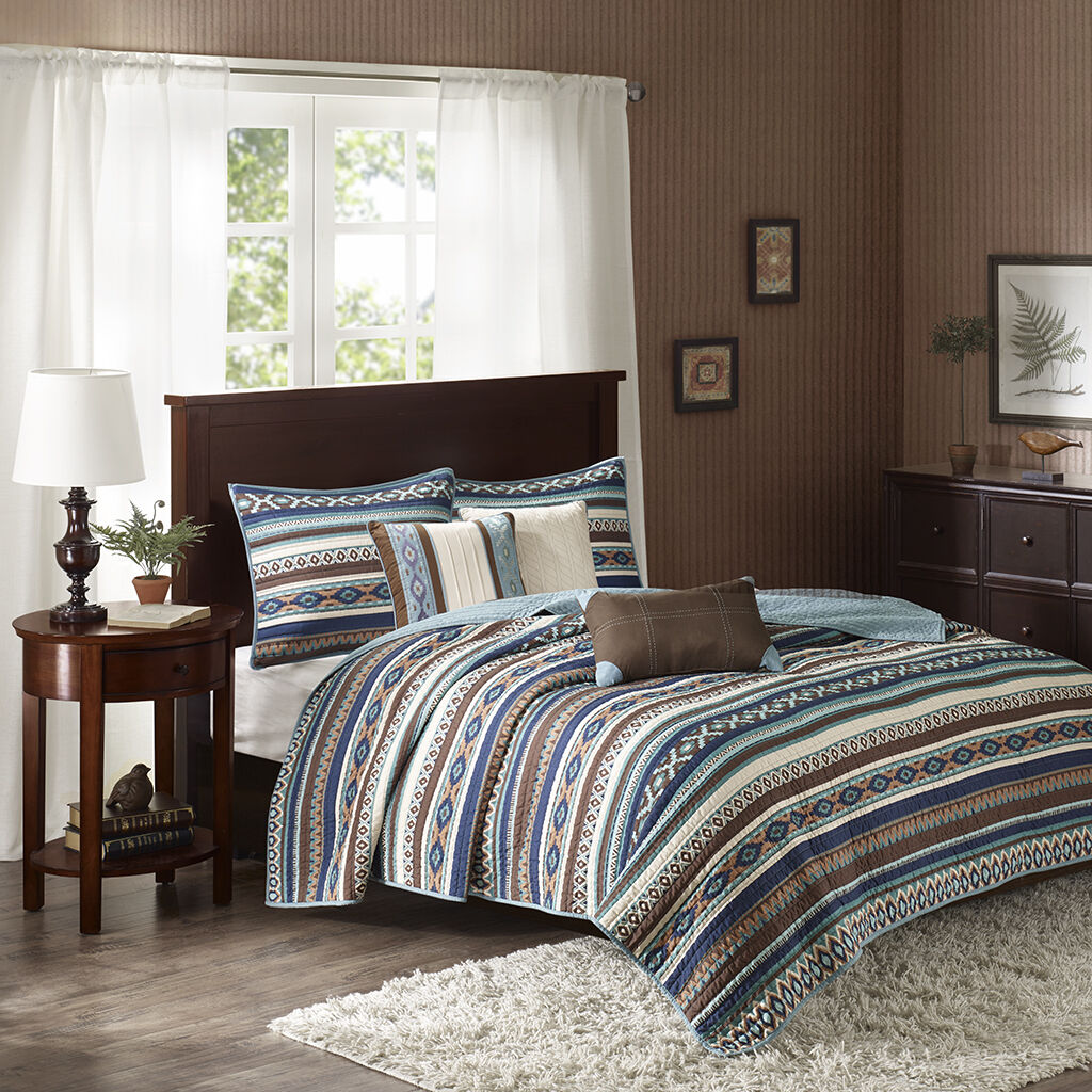 BEAUTIFUL MODERN blu Marronee TEAL IVORY TEXAS SOUTHWEST COUNTRY CABIN QUILT SET