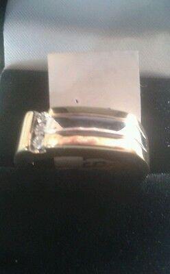 925 Silver & Gold Plate Mens Diamond Ring BRAND NEW Size R, S, T, V, U,