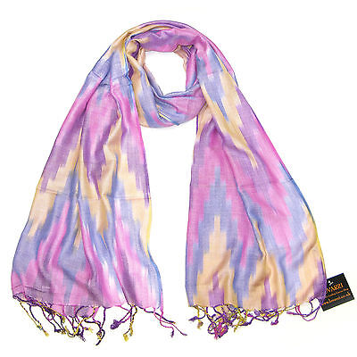 Womens Scarf Beautiful Ikat Scarves ladies Pashmina Colourful Long Striped scarf
