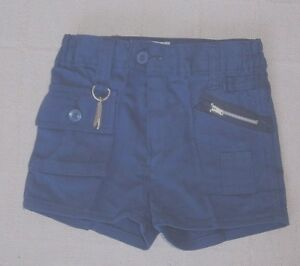 Vintage-Boys-Shorts-Age-7-8-Approx-Navy-Blue-Drill-Zip-Front-Key-Ring-New