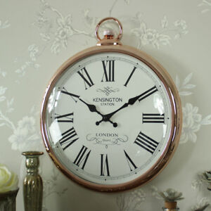 Large-copper-vintage-style-wall-hanging-fob-clock-shabby-vintage-chic-home-gift