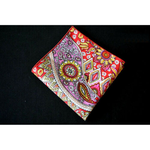 Men Paisley Cotton Pocket Square Colorful Handkerchief Wedding Party Hanky
