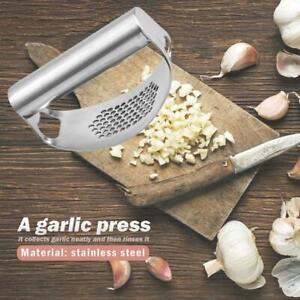 Kitchen Stainless Steel Garlic Press Tool Manual Rocking Crusher Squeezer Set