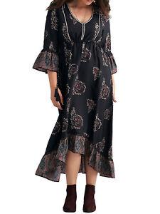 JOELLE-Black-Print-Bohemian-Foxglove-Maxi-Party-Dress-Size-14-to-26-RRP-55