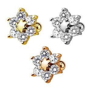 Tragus-Piercing-Ohr-Schmuck-Cartilage-Stecker-Blume-mit-Kristallen