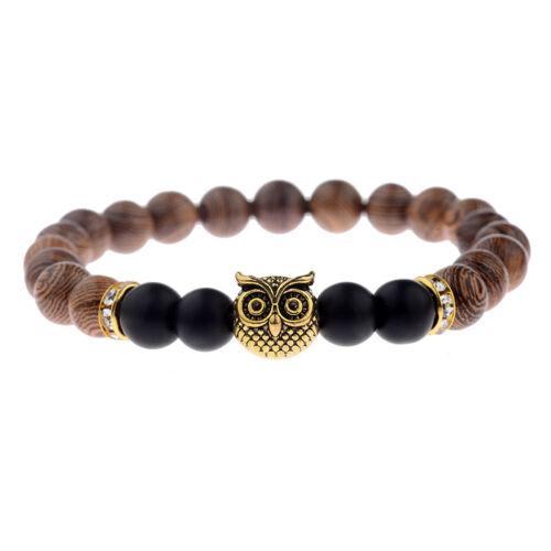 Wooden Beads Owl Bracelets Men Women Wristband Bangles Fashion Beaded Strand