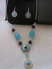 AVON Western Chic Necklace & Earrings Gift  Silver Plated with Faux Turquoise