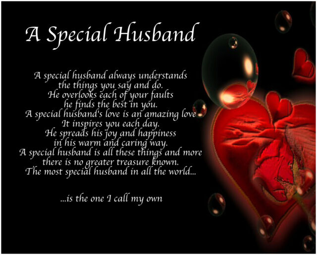 Personalised A Special Husband Poem Valentines Birthday Christmas Gift Present