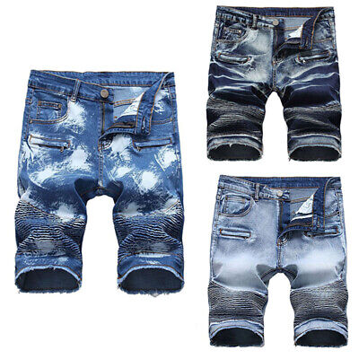 Generic Mens Autumn High Waist Ripped Skinny Distressed Destroyed Straight Fit Jeans with Pocket