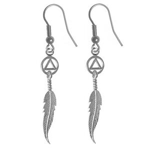 Ster. AA Alcoholics Anonymous Finely Detailed Feather Earrings,#849-6 Med Size