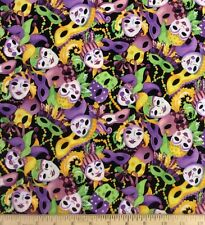 Mardi Gras Mask Carnival Jester Quilt Craft Sewing Fabric Cotton by Yard 15161