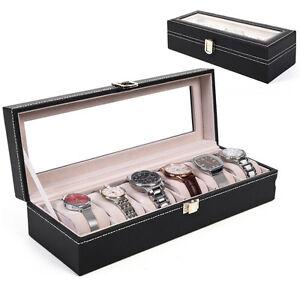 6 Slot Watch Box Display Case Organizer Glass Top Jewelry Storage