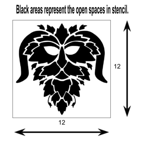 12 X 12 Horned GREEN MAN Face STENCIL Leaves//Nature Greenman template
