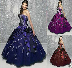 New-Taffeta-Embroidered-Wedding-Dress-Bridal-Ball-Gown-Stock-Size-6-8-10-14-16