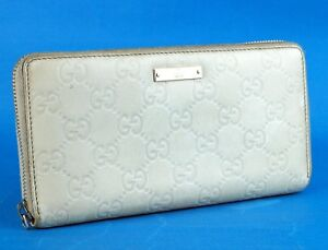 a409934ba Image is loading Authentic-Gucci-Guccissima-White-Leather-Zip-Around-Long-