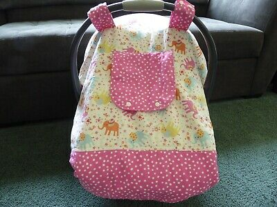 Sale Elephants Insulated Fitted W Peekaboo Opening Handmade Baby Car Seat Canopy Ebay