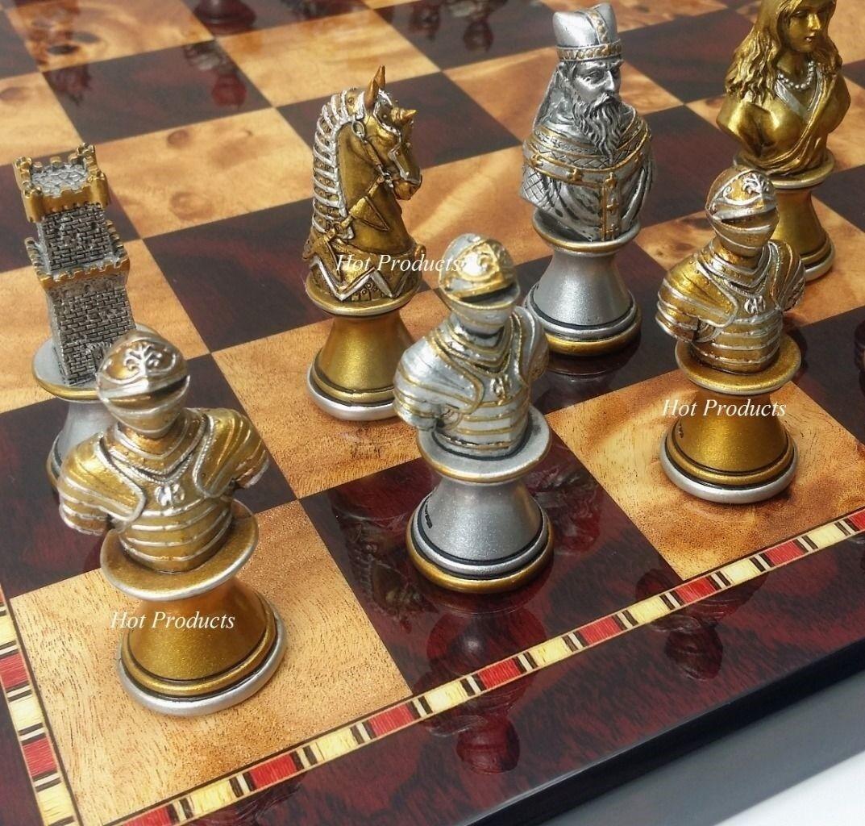 Moyen âge chevaliers bustes Argent Or Chess Set avec  18  CHERRY Couleur Board  livraison directe et rapide