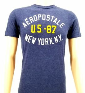 6a3a50ad9d0f57 NWT  85 AEROPOSTALE Mens BLUE GRAPHIC CREW-NECK TEE SHORT-SLEEVE ...