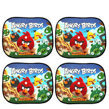 Set of 2 Pair (4 Pieces)- Printed Car Window Sun Shade Sunshade..Angry bird mesh