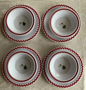 Set-Of-8-Pottery-Barn-Kids-Christmas-Snowman-Tree-Melamine-Dish-Bowls-Plates